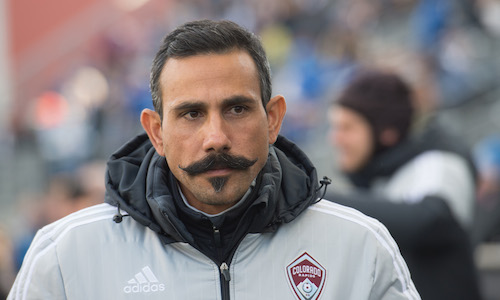 Mar 7, 2015; Philadelphia, PA, USA; Colorado Rapids head coach Pablo Mastroeni prior to a match against against the Philadelphia Union at PPL Park. The game ended in a 0-0 draw. Mandatory Credit: Derik Hamilton-USA TODAY Sports