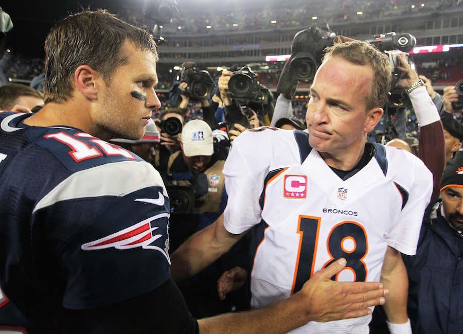 Look peyton manning and tom brady meet up after broncos patriots tom brady and peyton mannings rivalry m4hsunfo