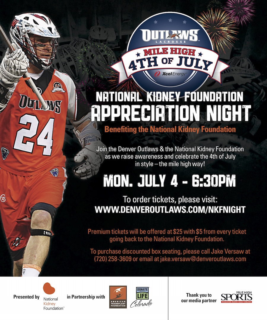 Denver Outlaws July 4th Tickets To Benefit The National