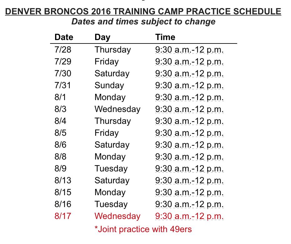 Denver Broncos Schedule: Denver Broncos Release Their 2016 Training Camp Schedule