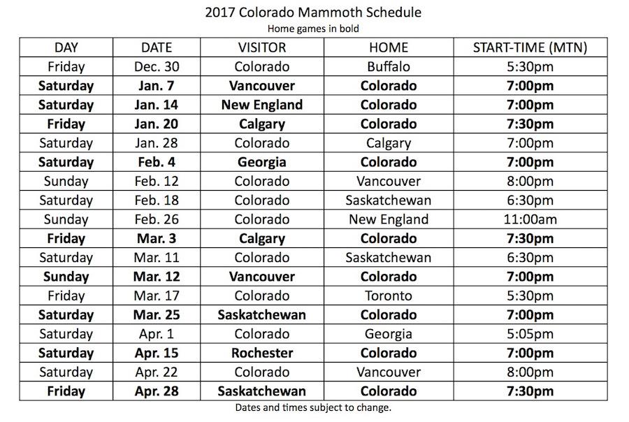 2017 Colorado Mammoth Schedule