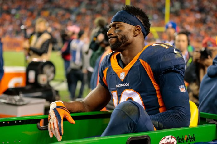 Oct 15 2017 Denver Co Usa Broncos Wide Receiver Emmanuel Sanders 10 Is Carted Off The Field In Third Quarter Against New York Giants