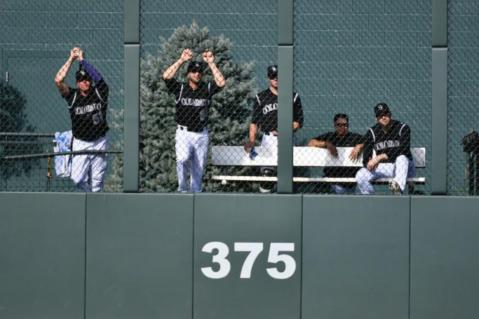 General view of the bullpen of the Colorado Rockies during the ninth inning against San Francisco Giants at Coors Field