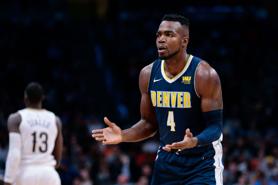 Denver Nuggets forward Paul Millsap (4) in the third quarter against the New Orleans Pelicans at the Pepsi Center.