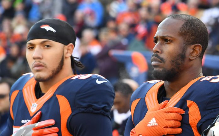 Shane Ray and Von Miller. Credit Ron Chenoy USA TODAY Sports