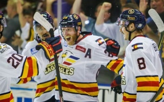 Colorado Eagles players celebrate their Game 6 win. Credit: Colorado Eagles.