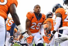 Chris Harris Jr. gets low fives from teammates pre-game. Credit: Ron Chenoy, USA TODAY Sports.