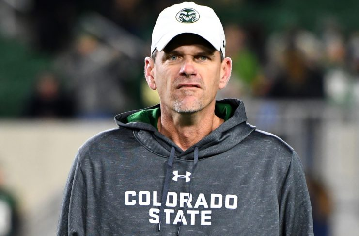 Mike Bobo before CSU - Nevada faced off in October, 2017. Credit: Ron Chenoy, USA TODAY Sports.