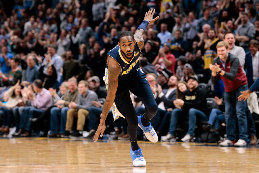 Denver Nuggets guard Will Barton (5) reacts after a play in overtime against the New Orleans Pelicans at the Pepsi Center.