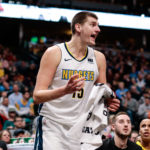 Denver Nuggets center Nikola Jokic (15) reacts after getting ejected in the fourth quarter against the Utah Jazz at the Pepsi Center.