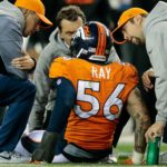 Shane Ray sits injured on the field during a game in November of 2017. Credit: Isaiah J. Downing, USA TODAY Sports.
