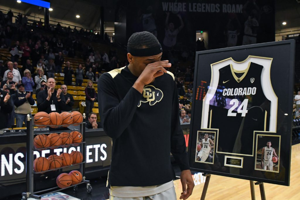 Colorado Buffaloes guard George King (24) reacts before the game against the UCLA Bruins at the Coors Events Center.