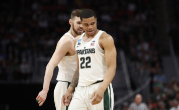 Michigan State Spartans guard Miles Bridges (22) reacts to a play in the first half against the Syracuse Orange in the second round of the 2018 NCAA Tournament at Little Caesars Arena