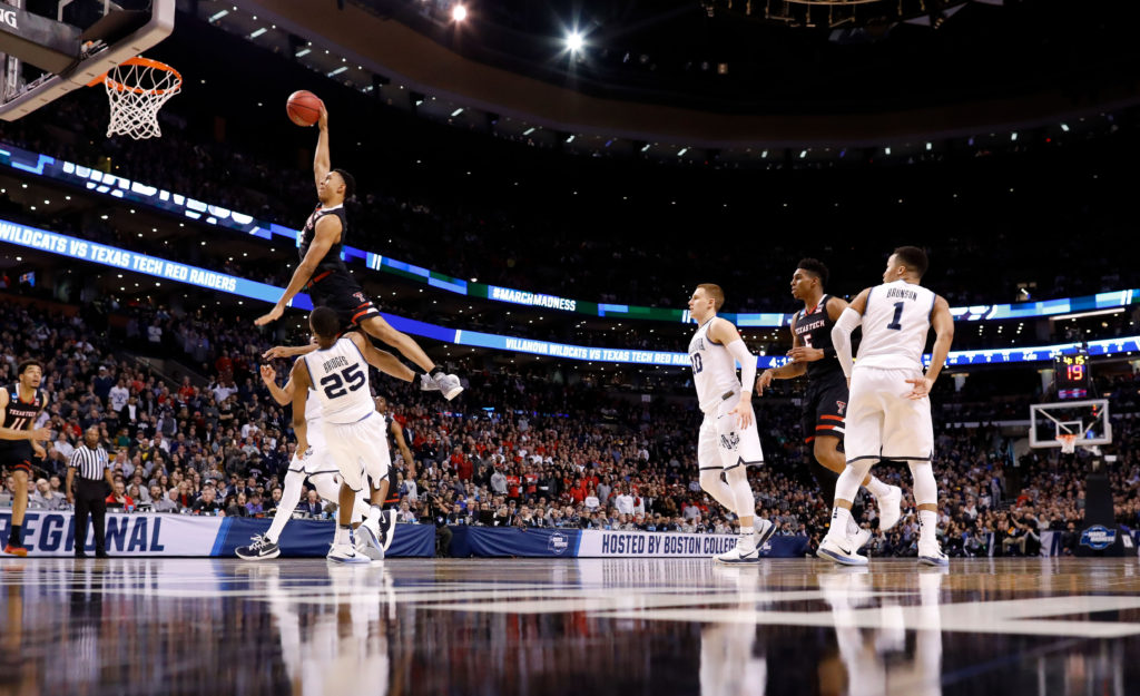 Texas Tech Red Raiders guard Zhaire Smith (2) attempts a dunk against the Villanova Wildcats during the second half of the championship game of the East regional of the 2018 NCAA Tournament at the TD Garden.