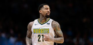 Denver Nuggets forward Wilson Chandler (21) in the first quarter against the Detroit Pistons at the Pepsi Center.