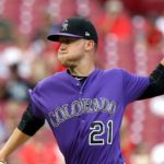 Kyle Freeland pitching Tuesday night in purple against the Reds on the road. Credit: Aaron Doster, USA TODAY Sports.
