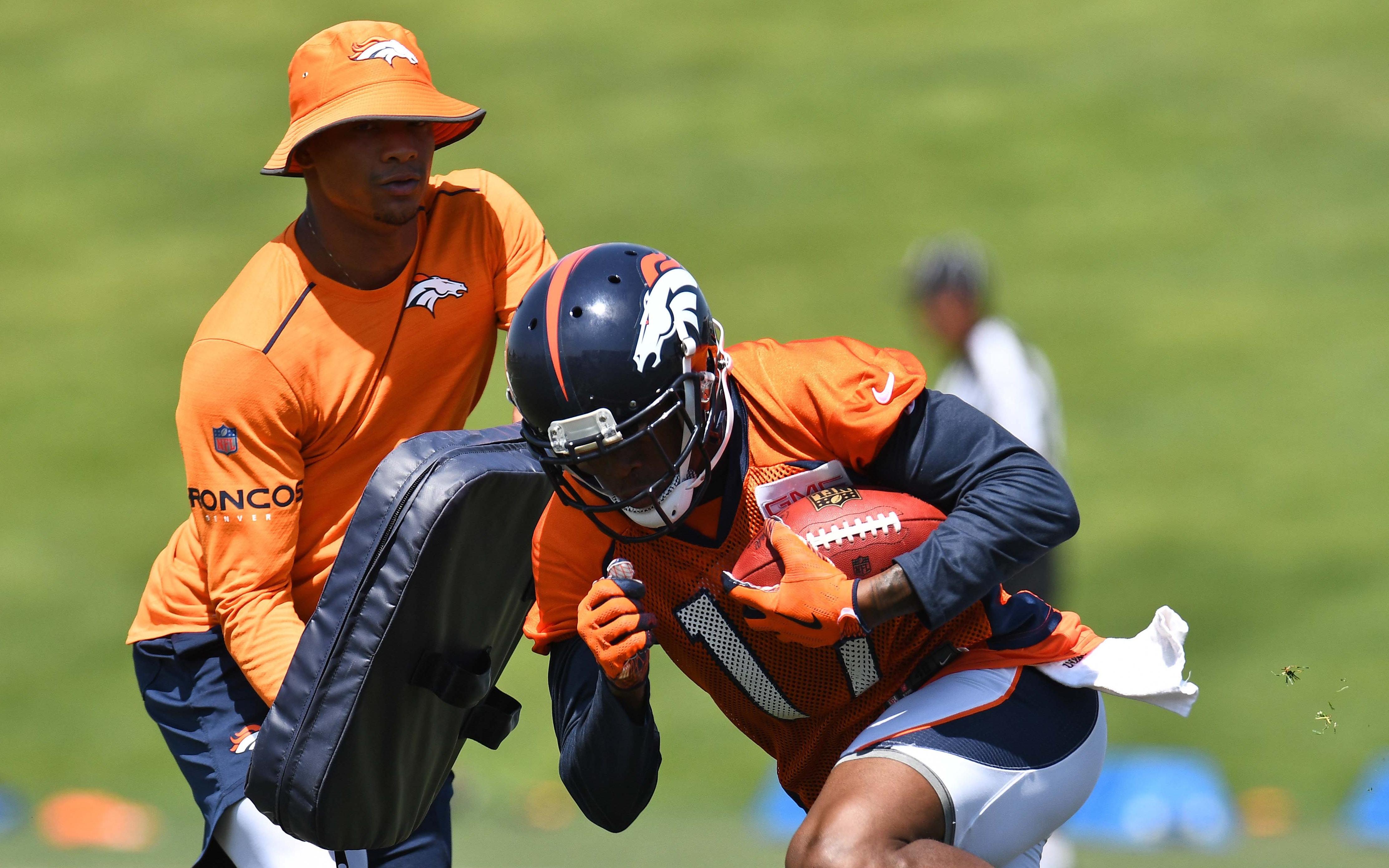 DaeSean Hamilton in Broncos mini-camp. Credit: Ron Chenoy, USA TODAY Sports.