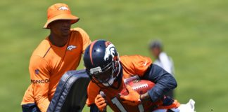 DaeSean Hamilton in Broncos mini-camp. Credit: Ron Chenoy, USA TODAY Sports.