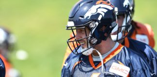 Case Keenum in Broncos OTAs. Credit: Ron Chenoy, USA TODAY Sports.