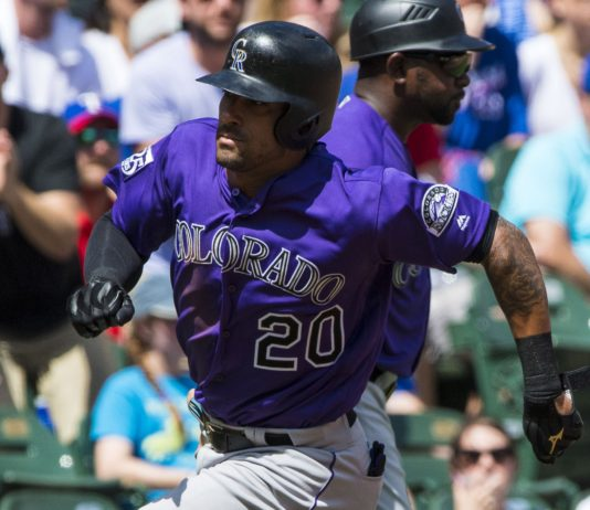 Ian Desmond flourished as the Rockies DH against the Rangers last weekend. Credit: Jerome Miron, USA TODAY Sports.
