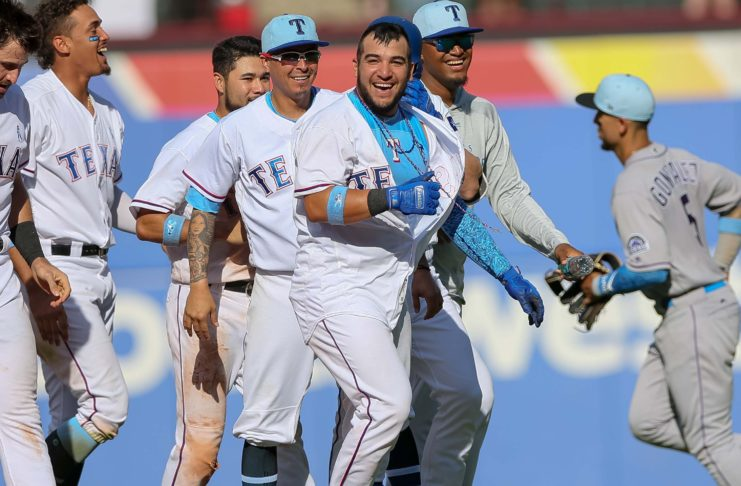 Jose Trevino walked off for the Rangers on Sunday. He's a new father, on Father's Day.
