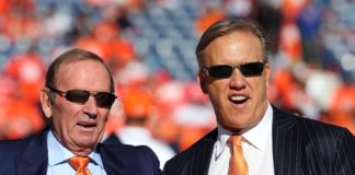 Denver Broncos owner Pat Bowlen and executive vice president of football operations John Elway before the 2013 AFC championship playoff football game against the New England Patriots at Sports Authority Field at Mile High. Mandatory Credit: Matthew Emmons-USA TODAY Sports