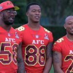 Von Miller, Demaryius Thomas and Chris Harris Jr. at the 2017 Pro Bowl. Credit: Kirby Lee, USA TODAY Sports.