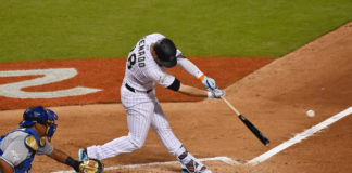 Nolan Arenado (28) of the Colorado Rockies hits a single in the second inning during the 2017 MLB All-Star Game at Marlins Park.