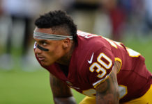Washington Redskins inside linebacker Su'a Cravens (30) prior to a game against the Baltimore Ravens at M&T Bank Stadium.