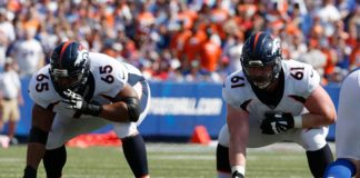 Ronald Leary (left) and Matt Paradis (right) were the two best offensive linemen for the Broncos in 2017. They need to lead Denver's o-line to gel this year if the Broncos want to make the playoffs again.