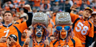 Denver Broncos fans in the second quarter against the Cincinnati Bengals at Sports Authority Field at Mile High.