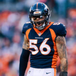 Denver Broncos outside linebacker Shane Ray (56) reacts after a play in the third quarter against the New York Jets at Sports Authority Field at Mile High.