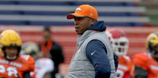 Vance Joseph at the Senior Bowl. Credit: Chuck Cook, USA TODAY Sports.
