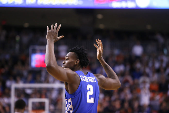 Kentucky Wildcats forward Jarred Vanderbilt (2) reacts after being called for a foul during the first half against the Auburn Tigers at Auburn Arena. The Tigers beat the Wildcats 76-66.