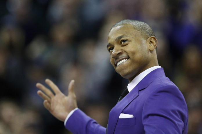 9e30bf9d7bc0 Former Washington Huskies guard Isaiah Thomas walks onto the court during a  ceremony to retire his
