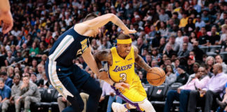 Denver Nuggets forward Juancho Hernangomez (41) guards Los Angeles Lakers guard Isaiah Thomas (3) in the third quarter at the Pepsi Center.