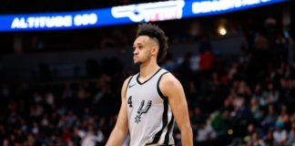 Feb 13, 2018; Denver, CO, USA; San Antonio Spurs guard Derrick White (4) in the fourth quarter against the Denver Nuggets at the Pepsi Center. Mandatory Credit: Isaiah J. Downing-USA TODAY Sports