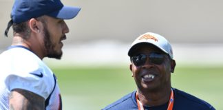 Vance Joseph and Shane Ray in OTAs. Credit: Ron Chenoy, USA TODAY Sports.