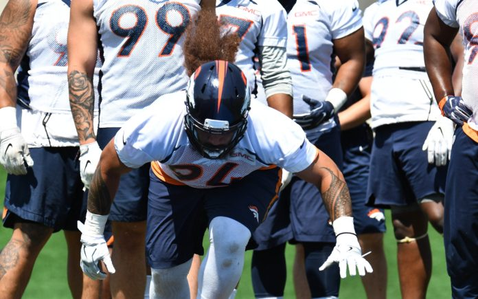 Domata Peko is a big reason, literally, why the Broncos run defense was so good in 2017. Credit: Ron Chenoy, USA TODAY Sports.