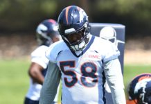 Von Miller at OTAs. Credit: Ron Chenoy, USA TODAY Sports.