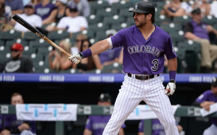 Mike Tauchman when he was called up to the Rockies in June. Credit: Steven Branscombe, USA TODAY Sports.