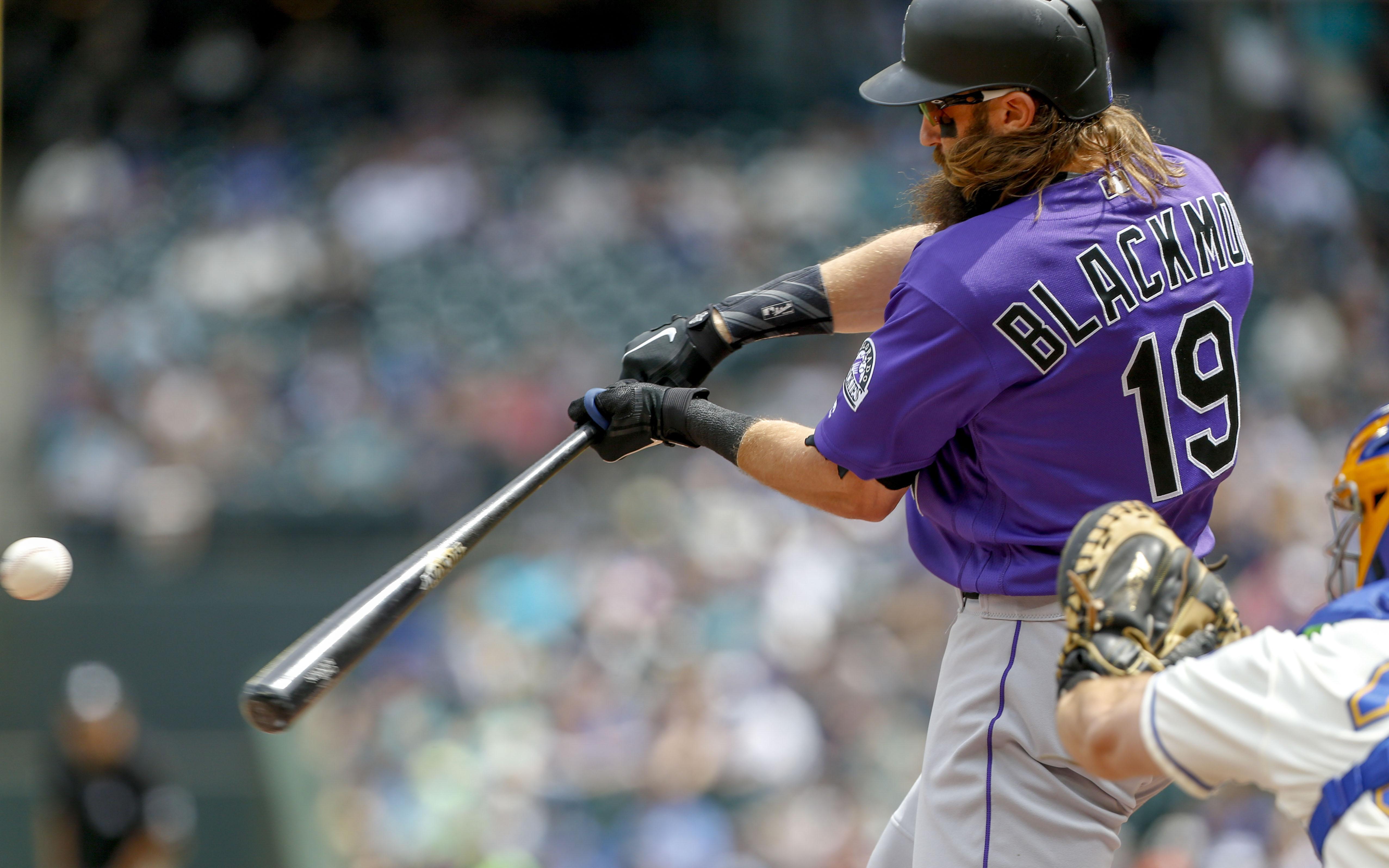 Charlie Blackmon hitting his solo home run Sunday. Credit: Jennifer Buchanan, USA TODAY Sports.