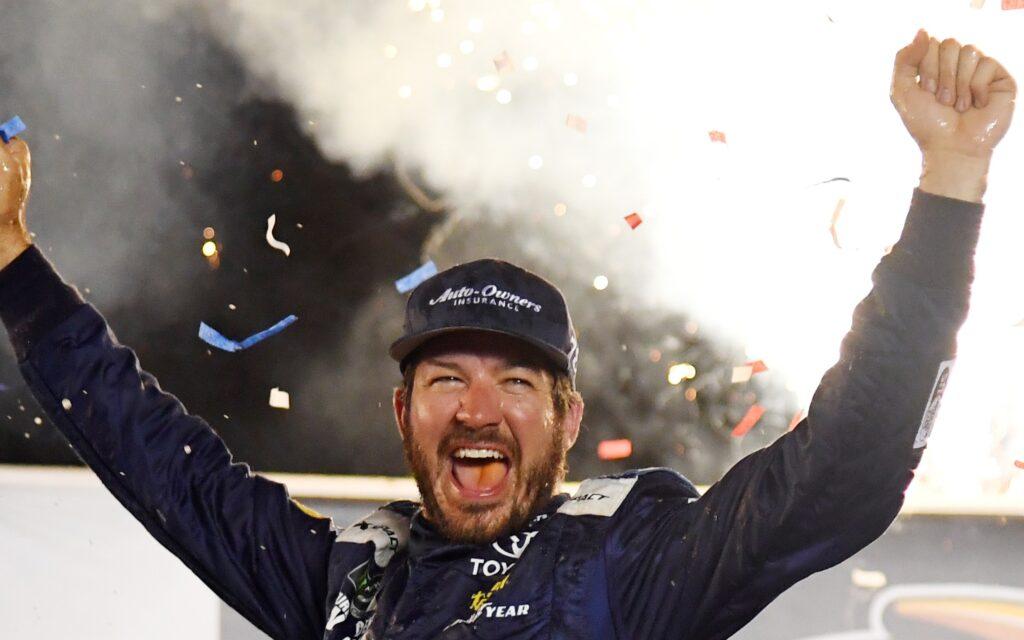 Martin Truex celebrates his win in Kentucky. Credit: Christopher Hanewinkel, USA TODAY Sports.