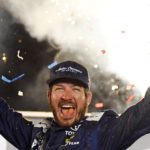 Martin Truex celebrates his win in Kentucky. Credit: Christopher Hanewinkel, USA TODAY Sports.