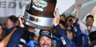 Martin Truex celebrating his win on Sunday. Credit: Christopher Hanewinkel, USA TODAY Sports.