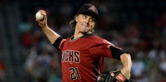 Zack Greinke on Sunday. Credit: Matt Kartozian, USA TODAY Sports.