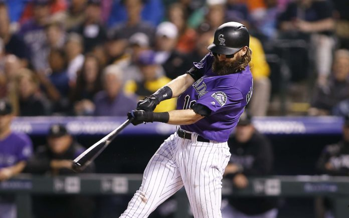 Charlie Blackmon on his home run. Credit: Russell Lansford, USA TODAY Sports.