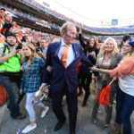 Denver Broncos owner Pat Bowlen celebrates the 26-16 victory against the New England Patriots following the 2013 AFC Championship football game at Sports Authority Field at Mile High.