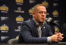 Denver Nuggets general manager Tim Connelly answers questions during a press conference during the media day at Pepsi Center