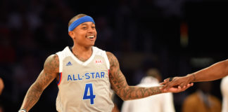 Eastern Conference guard Isaiah Thomas of the Boston Celtics (4) reacts in the 2017 NBA All-Star Game at Smoothie King Center.